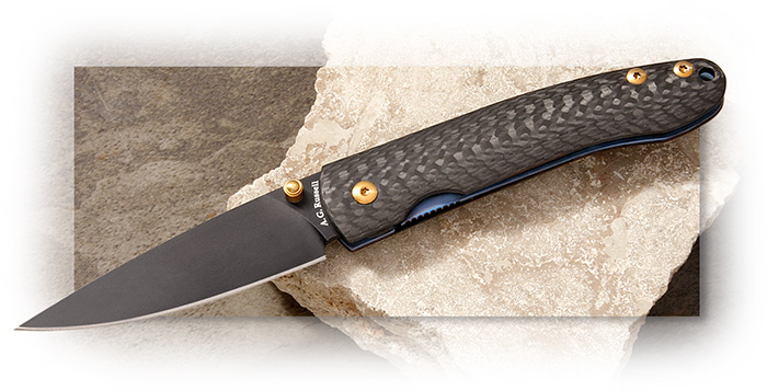 A.G. Russell Light'n Bug Carbon Fiber Liner Style Lock Titanium Liner Drop Point Blade