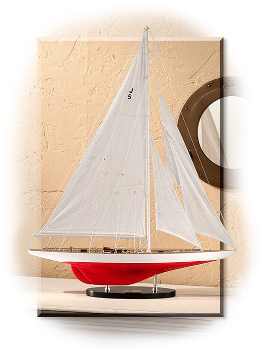 1937 J-YACHT RANGER A-CUP CONTENDER - ORIGINAL RED & WHITE COLORS - WHITE DETAILED STITCHED SAILS -