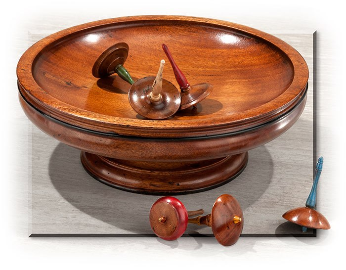 Spinning Wooden Tops & Bowl