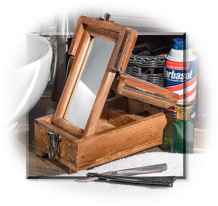 Reproduction Wooden Barber's Travel Box