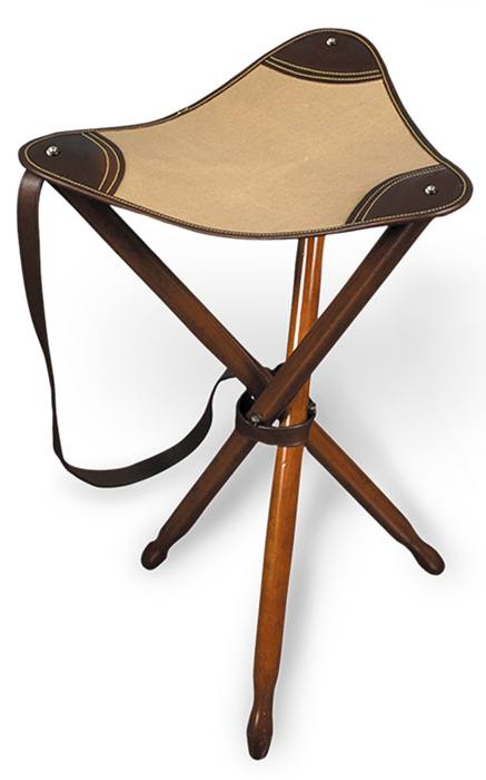 Canvas & Leather Safari Stool