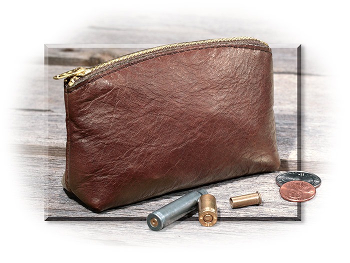 American Bison Leather Zippered Pouch