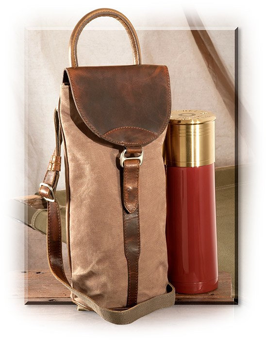 Distressed Leather & Canvas Bottle Tote