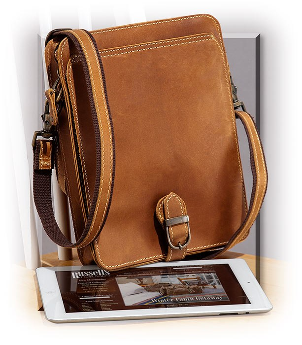 TAN LEATHER MEDIA HOLDER - REM/ADJ SHOULDER STRAP - FRONT SNAP CLOSE FLAP - ZIPPERED MAIN COMPARTMEN