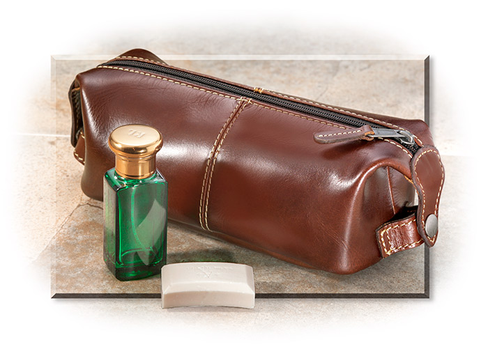 FULL GRAIN LEATHER DOPP KIT - BROWN LEATHER - FULL GRAIN PULL-UP WATER BUFFALO HIDE - WATER RESISTAN