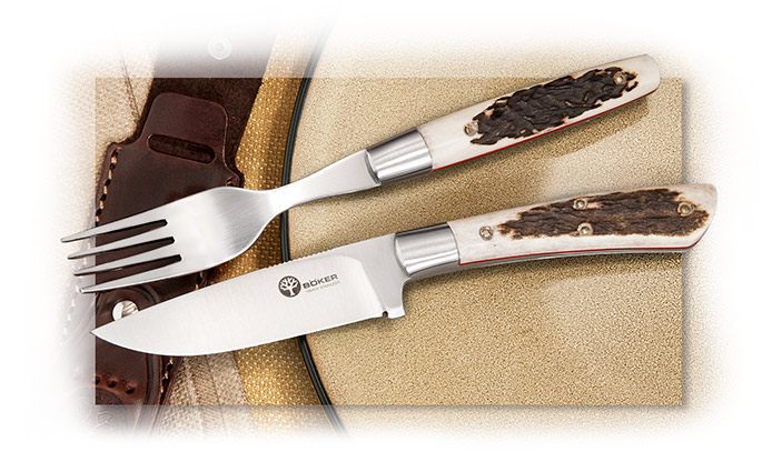 Böker Picnic Set, Steak Knife and Fork, with Stag