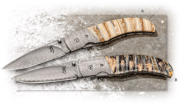 Browning Stainless Damascus & Mammoth Tooth Folder