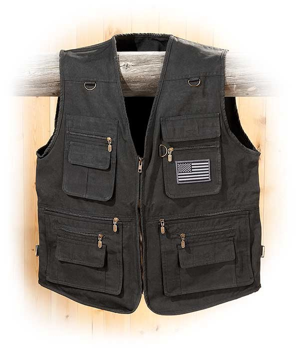 Concealed Carry Black Canvas Vest