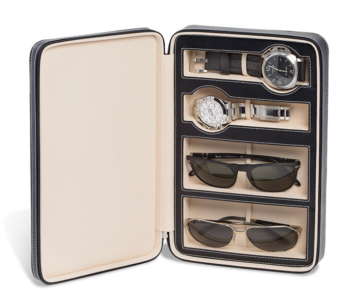 Leather Travel Case for Watches & Glasses