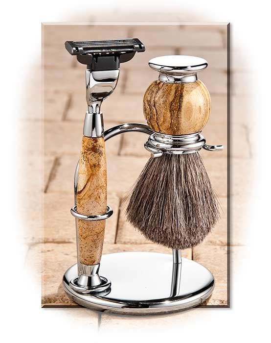 Picture Stone Shave Set - limestone handles and badger fur brush