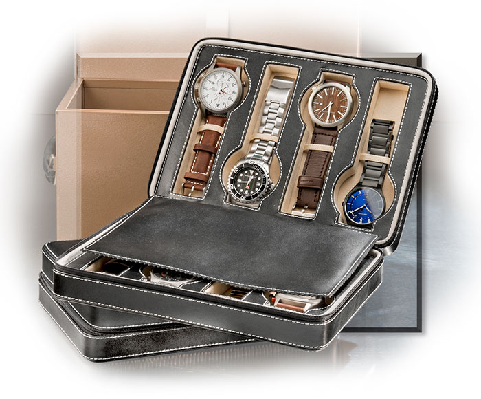 Genuine Leather Eight Watch Storage Case