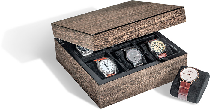 GREY BURL WATCH CASE - HOLDS UP TO 6 WATCHES - HINGED LID - BLACK VELOUR LINING