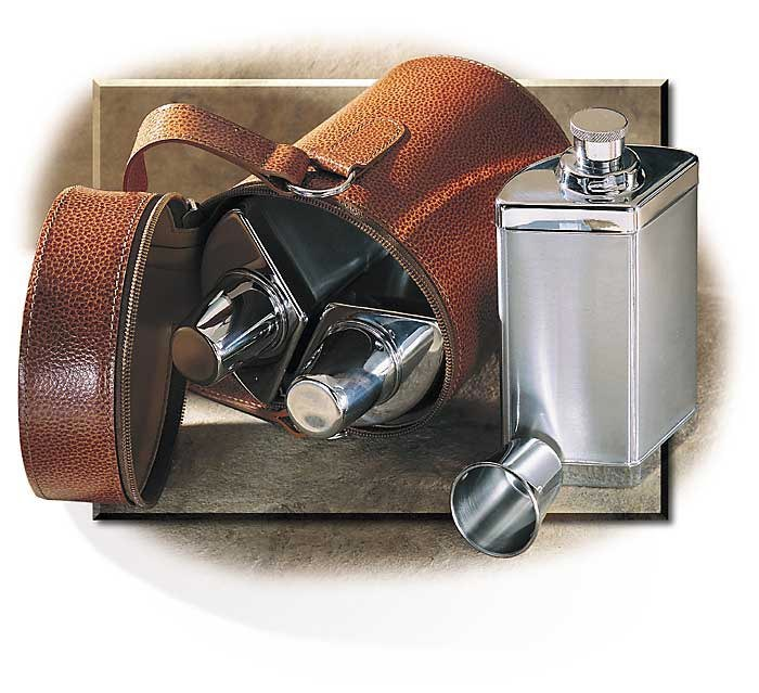 Three Flask Set in Leather Case