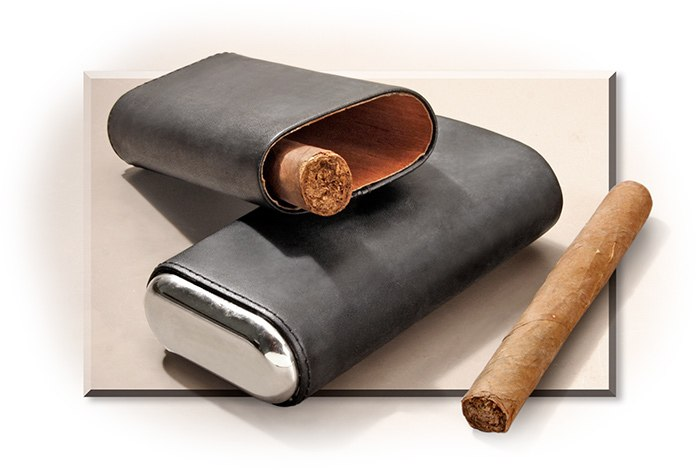Leather & Stainless Cigar Case