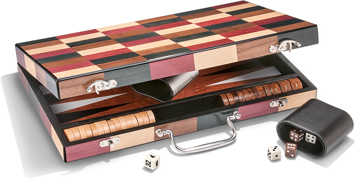 Wood Inlay Backgammon Set