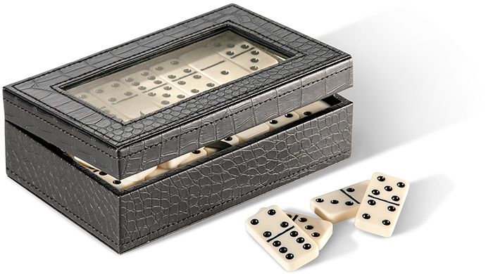 DOUBLE 9 DOMINOES - BLACK CROCODILE PATTERN EMBOSSED LEATHER CASE - GLASS WINDOW - IVORY DOMINOES