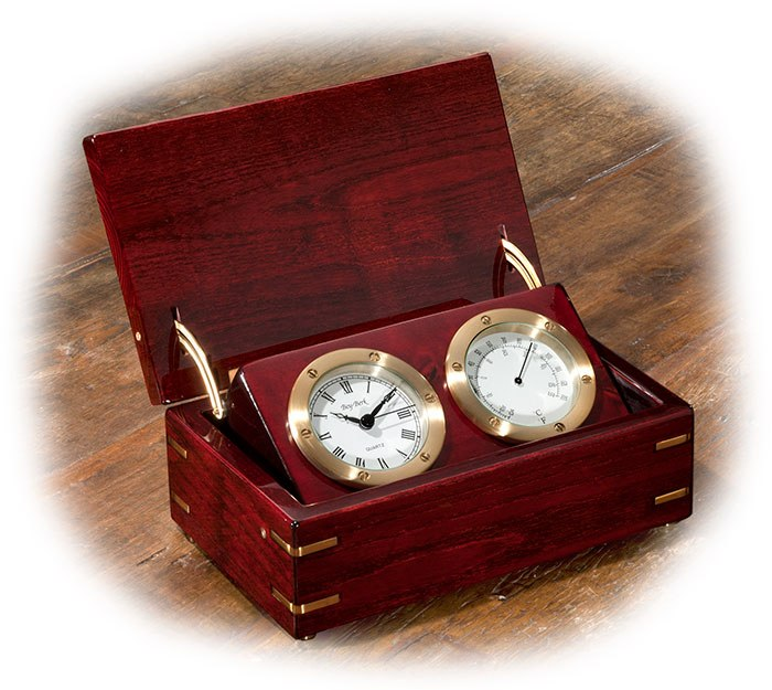 BRASS CLOCK & THERMOMETER IN ROSEWOOD BOX