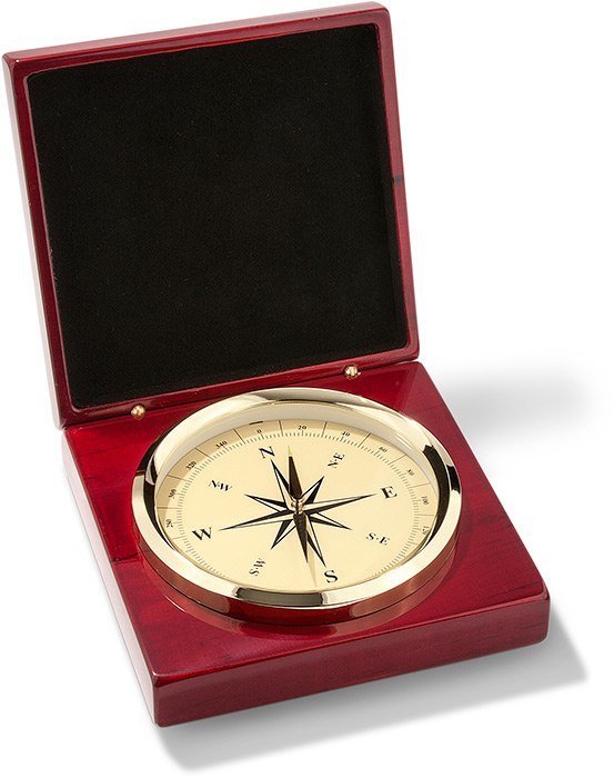 Brass Compass in Rosewood Box