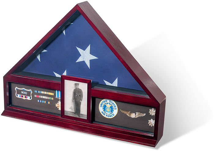 Wood Flag and Medals Display Case