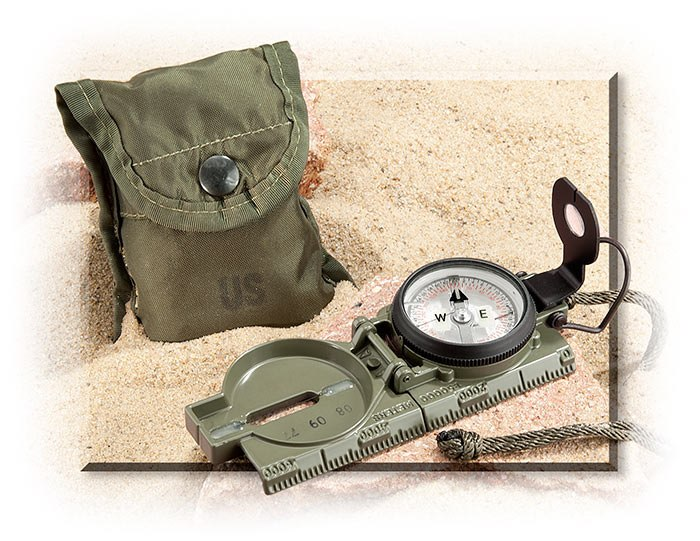 GREEN LENSATIC COMPASS - OD GREEN ALUMINUM CASE - GREEN NYLON POUCH WITH POCKET CLIP - GREEN NYLON L