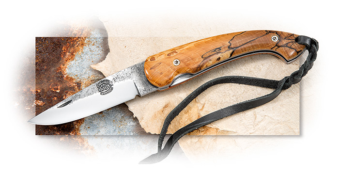 CAS IBERIA - CITADEL TRIDENT - HAND FORGED DNH7 HIGH CARBON PE BLADE - SPALTED WOOD HANDLE - LANYARD
