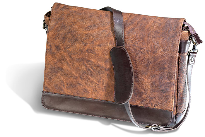 AMERICAN BISON MESSENGER BAG - BROWN LEATHER