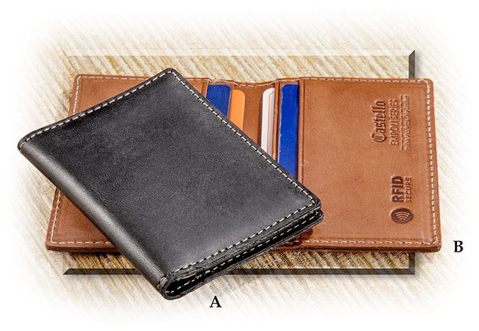 Leather Cardholder with  RFID Protection cognac