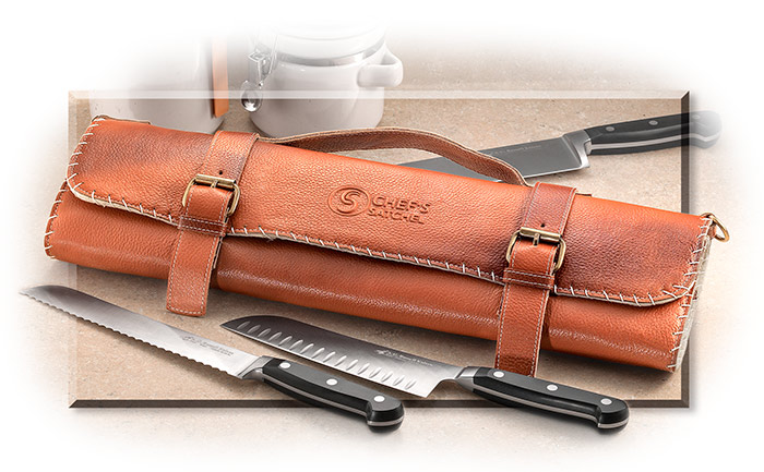"Handmade Brown Leather 8-Slot Chef's Knife roll for knives up to 15.5"" in overall length"
