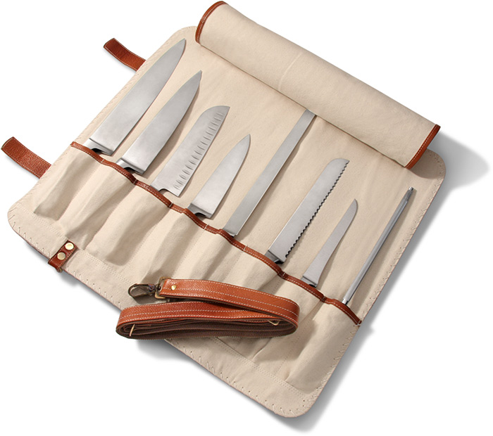 Handmade Leather 8-Slot Chef's Knife Roll