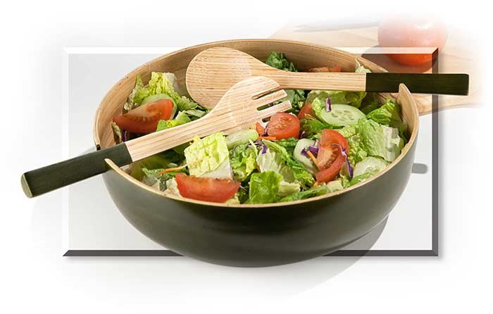 Bamboo Salad Bowl & Servers