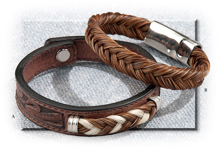 Tooled Leather And Braided Horsehair Bracelet Medium Fits To 7 1 4 Brown