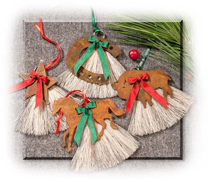 Horse Hair Tree Ornaments set of 4