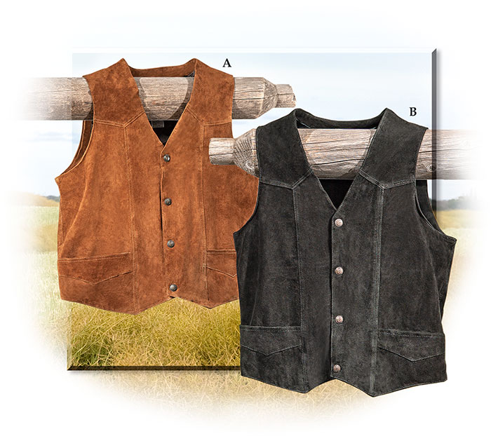 Western Style Suede Leather Vest medium