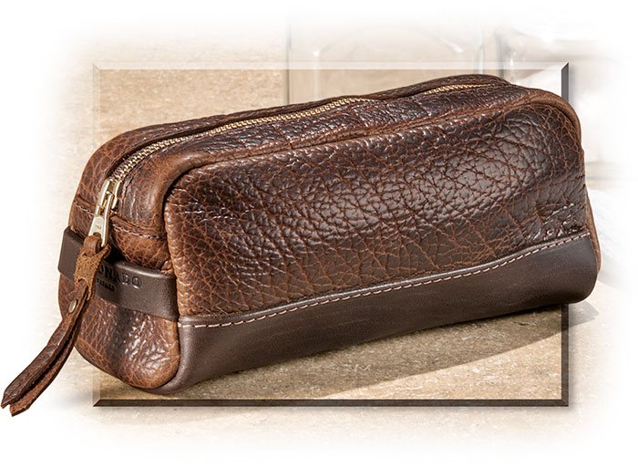 Small utility dopp kit made with American Bison Leather handcrafted in the USA. Brass YKK zipper