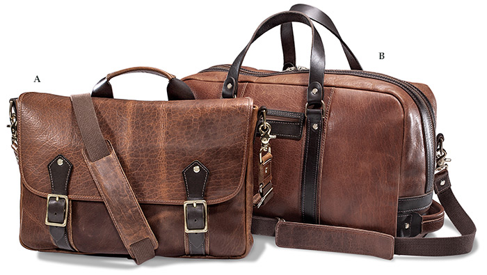 American Bison Leather Messenger Briefcase