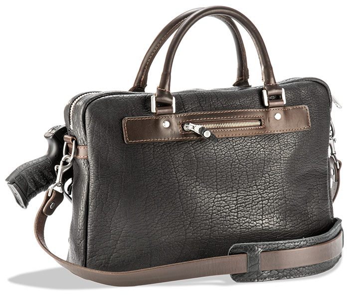 American Bison Leather Concealed Carry Briefcase With Horween Latigo Trim