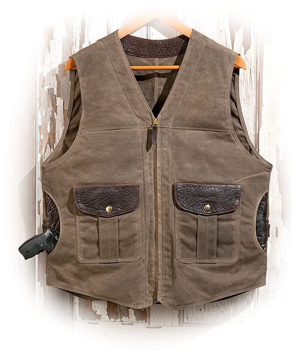 Concealed Carry Waxed Canvas Vest with Bison Leather Trim Tall 40