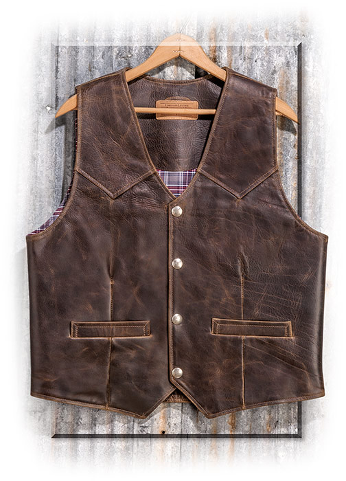 Men's genuine bison leather CCW vest, big, tall, and extra large sizes available for special order
