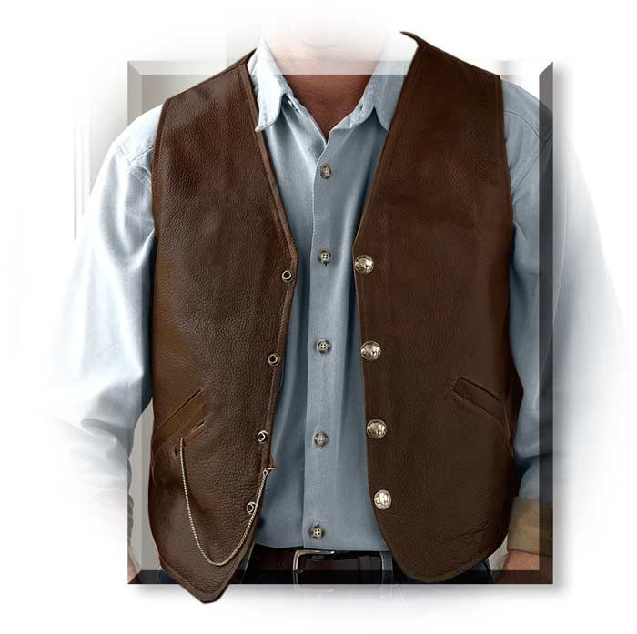 Coronado Men's Genuine Bison Leather Laredo Concealed Carry Vest with rocky pebble like texture