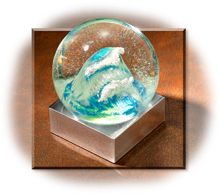 Snow Globe with Tsunami Ocean Wave
