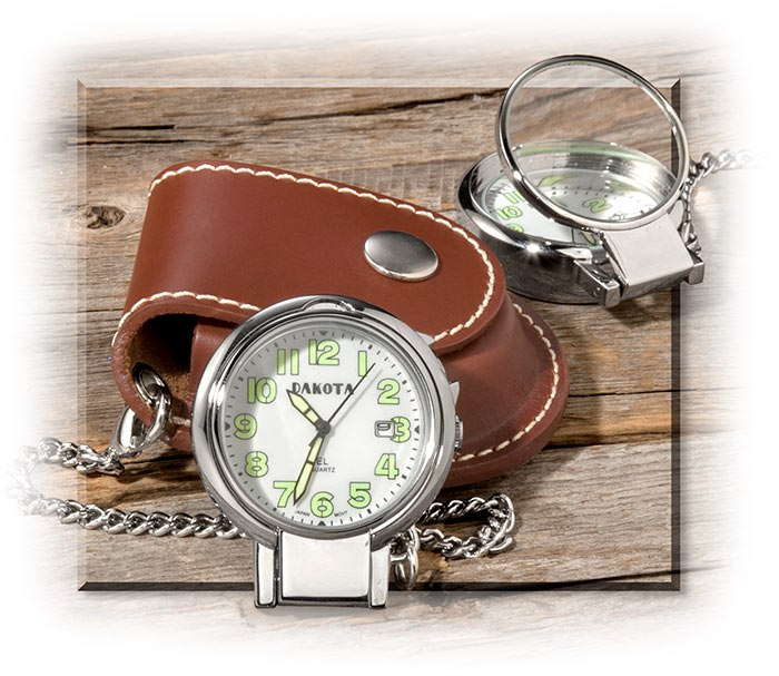 Field Pocket Watch with Leather Belt Pouch