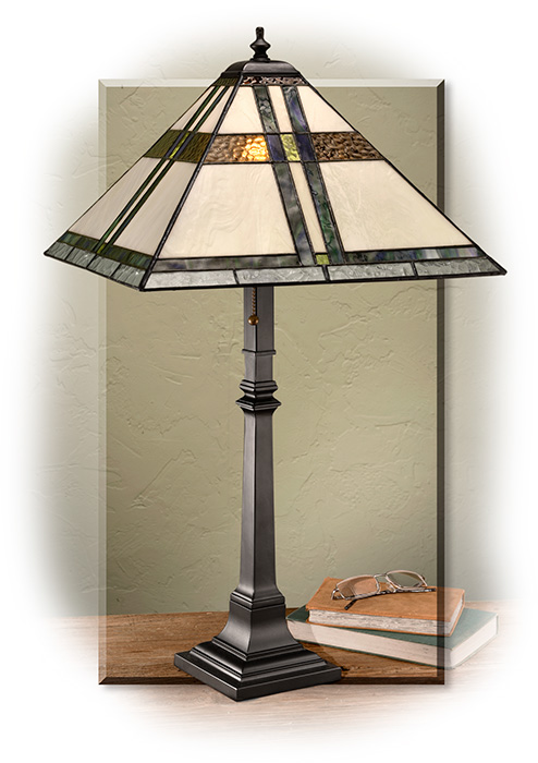 Mission-Style Table Lamp with stained cathedral style glass