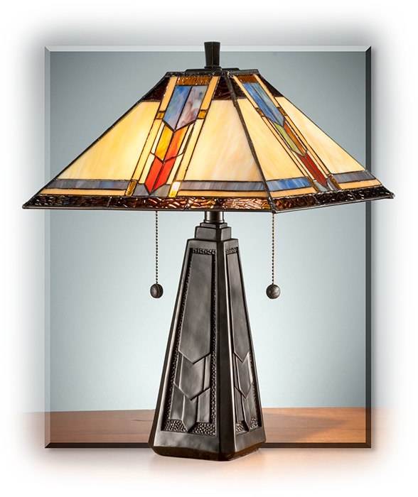 Stained glass mission style table lamp russells for men aloadofball Images