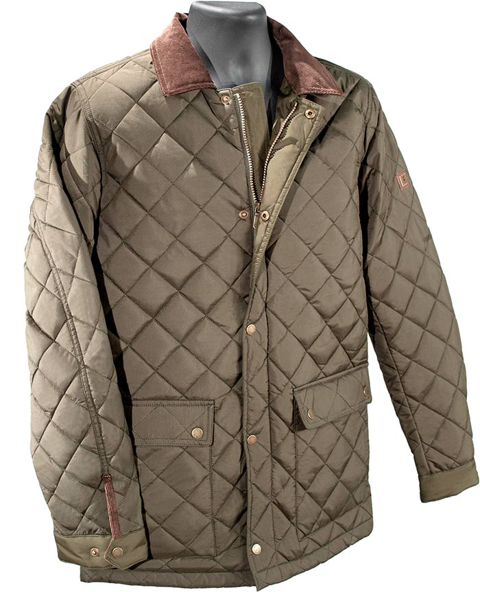 ADARE QUILTED JACKET - MEDIUM - OLIVE GREEN WITH BROWN CURDORY TRIM