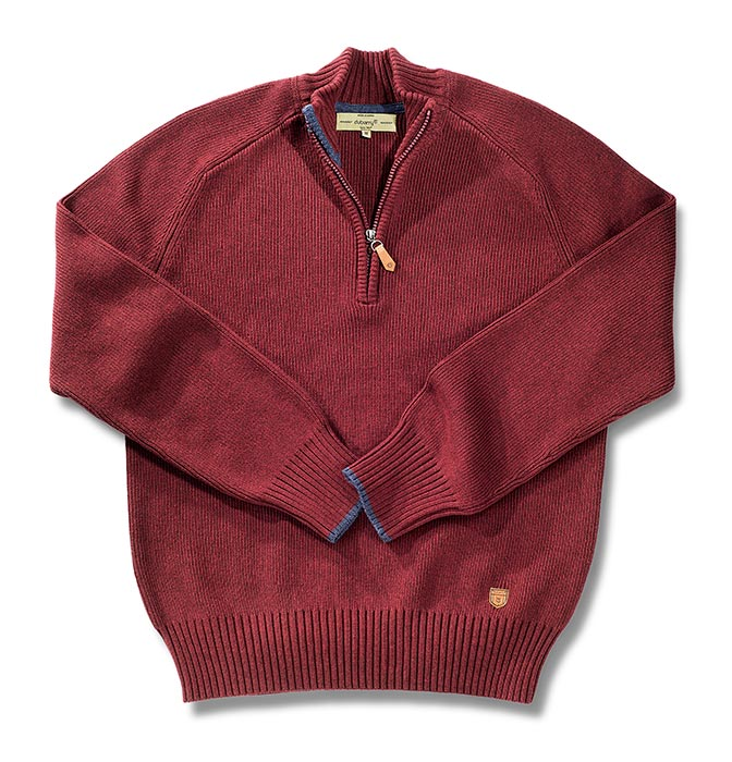 Zippered Neck Cotton Red Sweater by Dubarry of Ireland. Ribbed at the ends of the sleeves and torso.