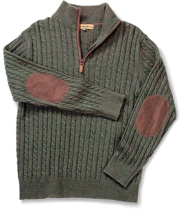 DUBARRY OF IRELAND QUARTER ZIP CABLE STITCH SWEATER - OLIVE GREEN WITH BROWN SUEDE ELBOW