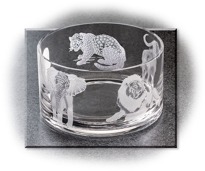African Big 5 Crystal Bowl