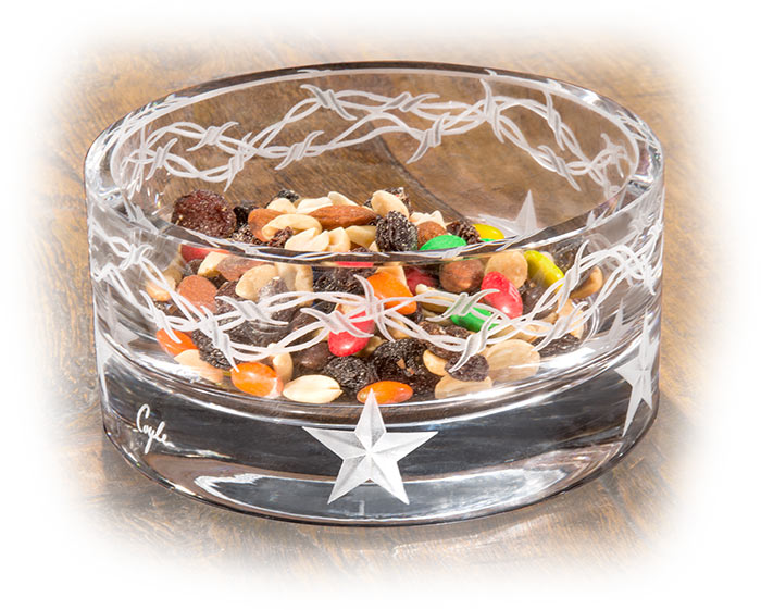 Stars & Barbed Wire Etched Crystal Snack Bowl