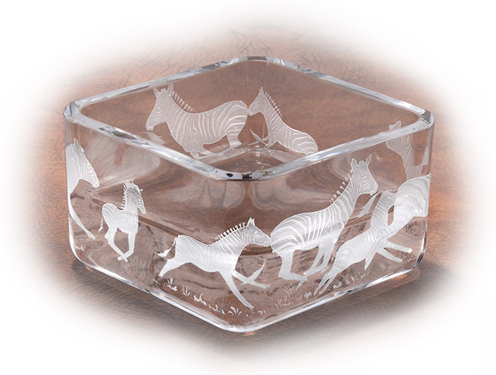 Mouth blown crystal bowl, engraved in America with careful hand sand blasting