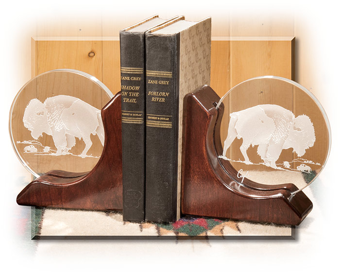 Bison Crystal and Rose Alder Bookends